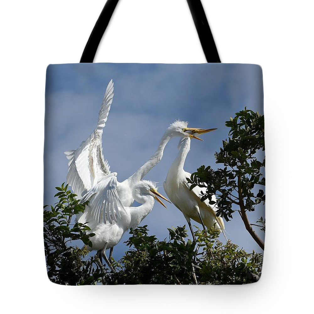 Great Egrets Tote Bag featuring the photograph Food Competition 2 by Fraida Gutovich