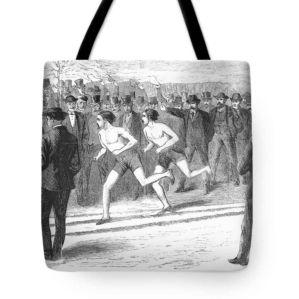 1868 Tote Bag featuring the photograph Foot Race, 1868 by Granger