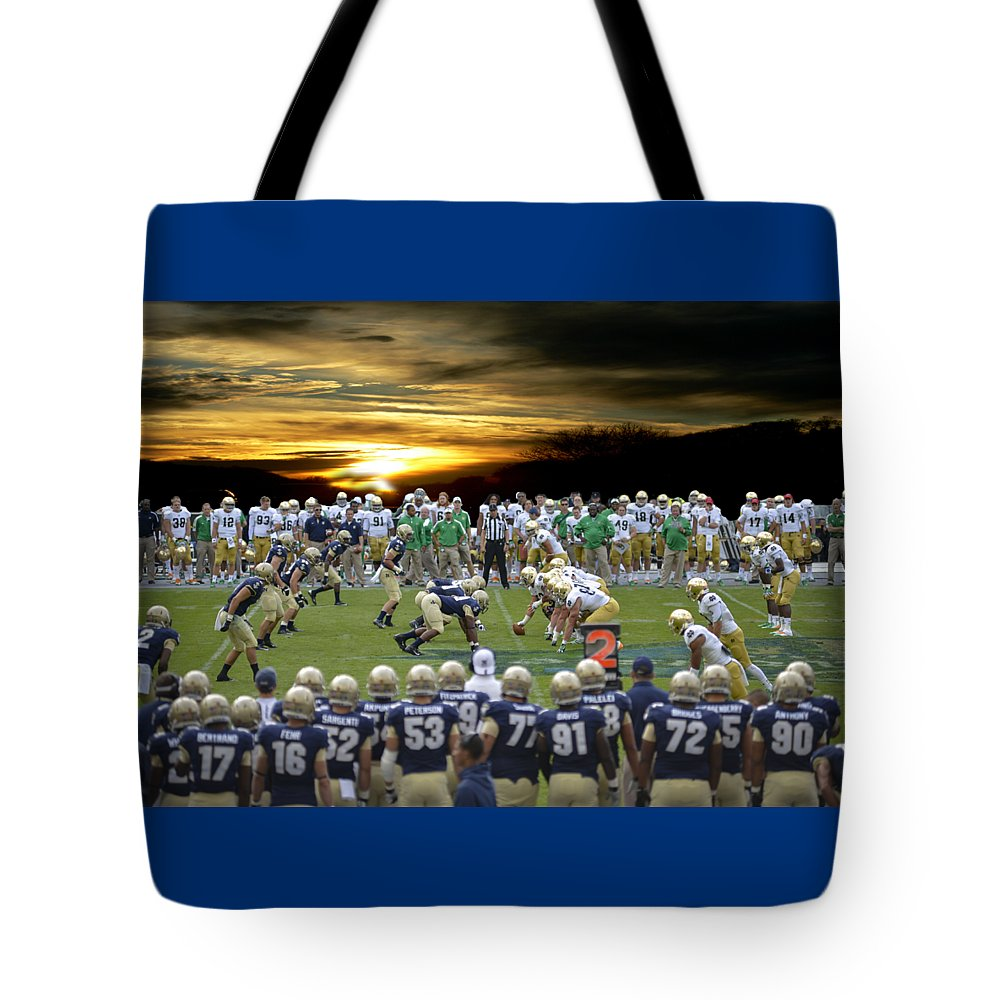 Notre Dame Tote Bag featuring the photograph Football Field-notre Dame-navy by Ericamaxine Price
