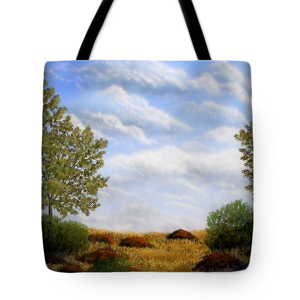 Landscape Tote Bag featuring the painting Foothills Afternoon by Frank Wilson