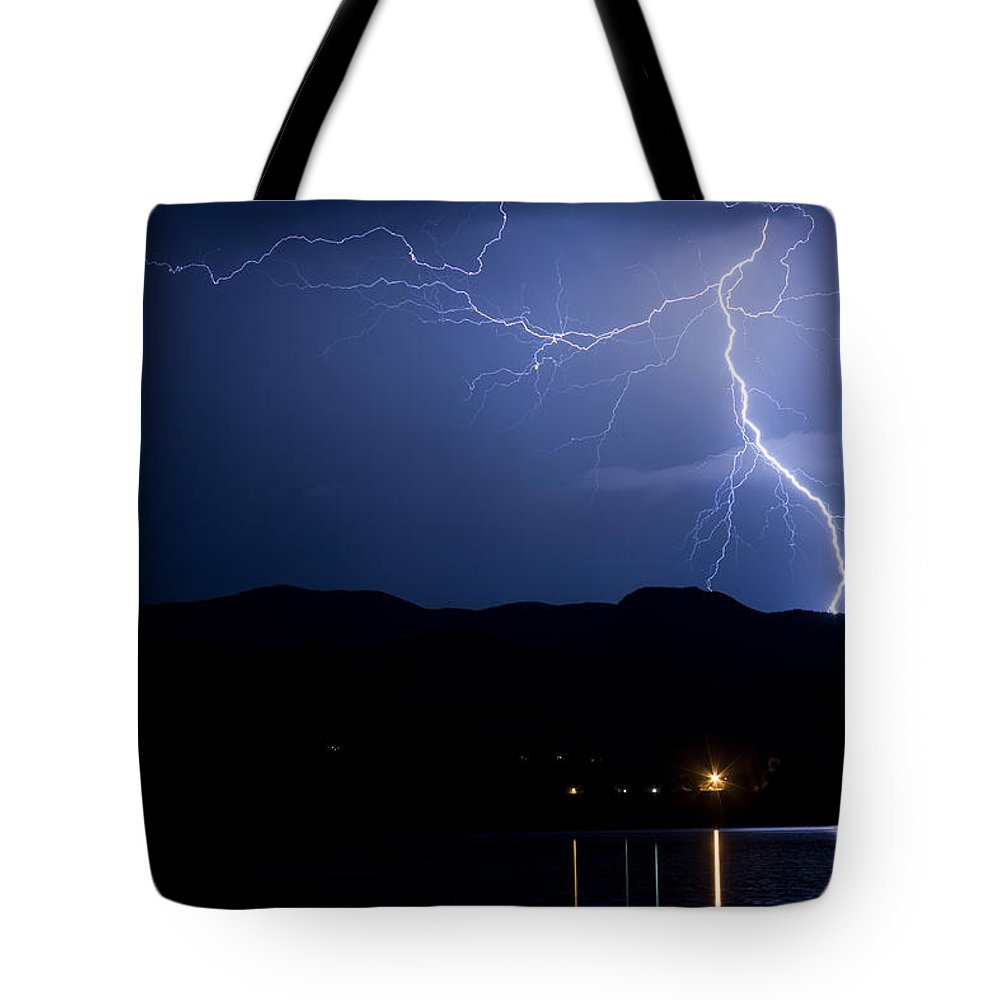 Lightning Tote Bag featuring the photograph Foothills Lake Lightning Extreme Weather Storm by James BO Insogna