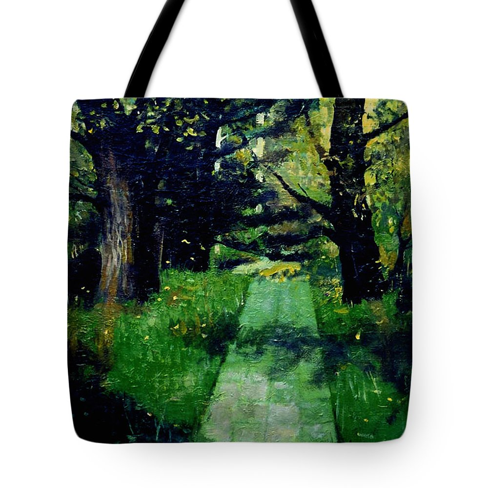 Landscape Tote Bag featuring the painting Footpath by LoveyUp Gallery