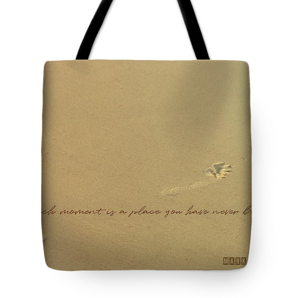 Footprint Tote Bag featuring the photograph Footprints Quote by JAMART Photography