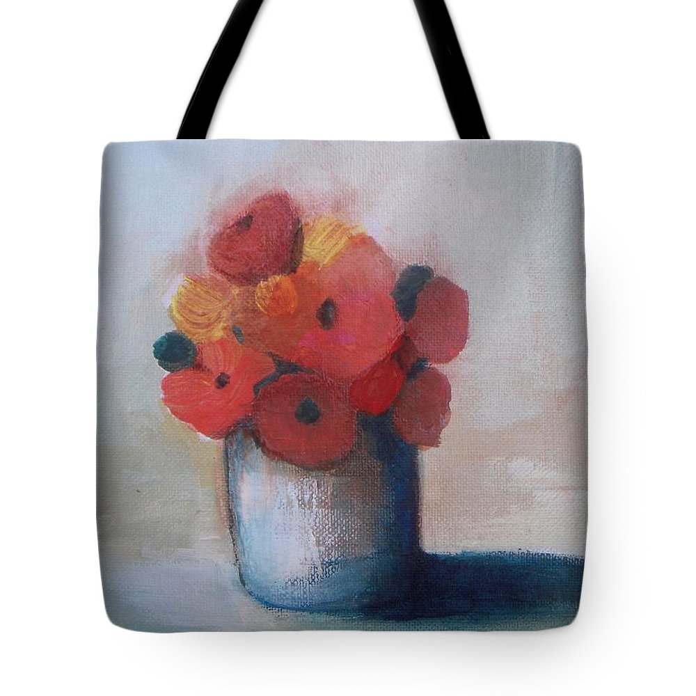 Flowers In Vase Tote Bag featuring the painting Spring Morning by Vesna Antic