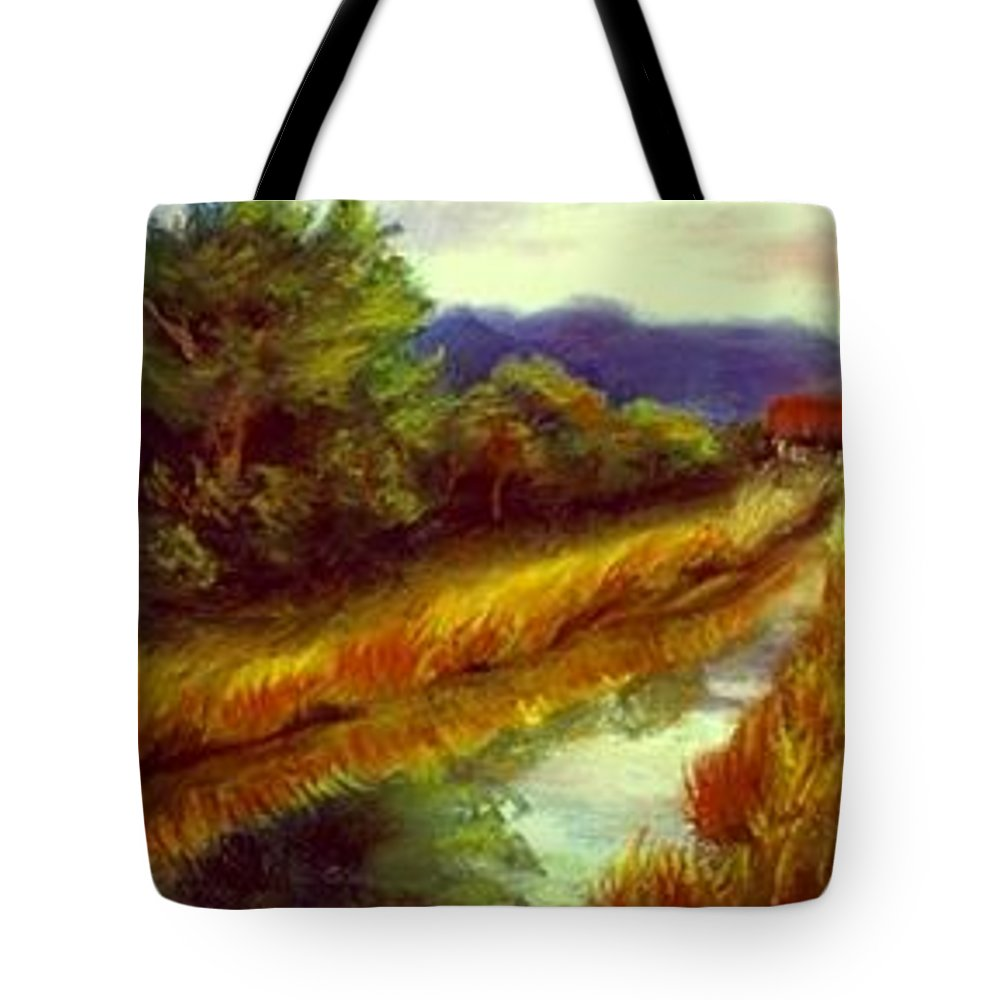 Landscape Tote Bag featuring the painting For A Thirsty Land by Gail Kirtz