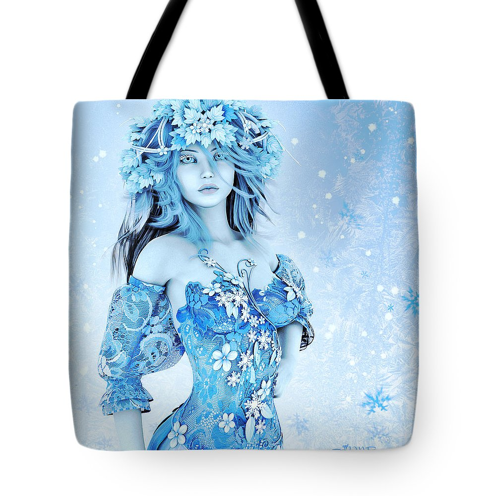 3d Tote Bag featuring the digital art For All Winter Friends by Jutta Maria Pusl