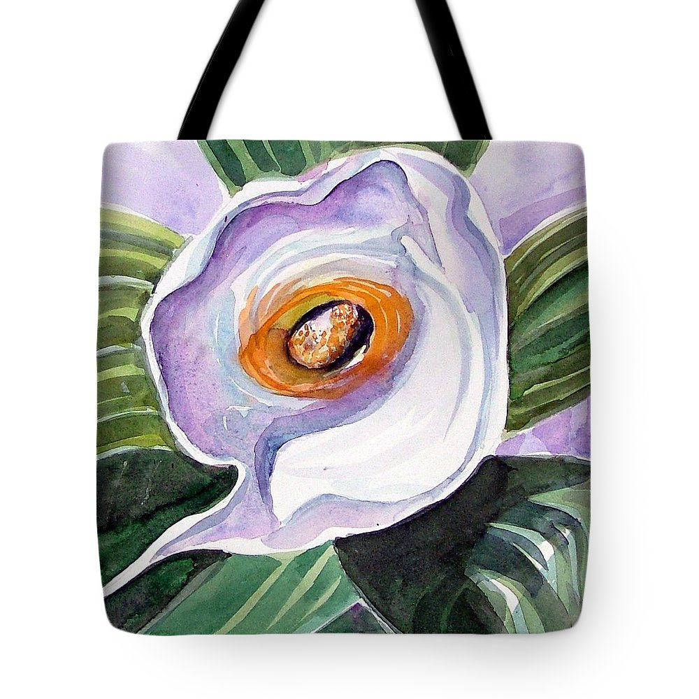 Floral Tote Bag featuring the painting For Georgia O Keefe by Mindy Newman
