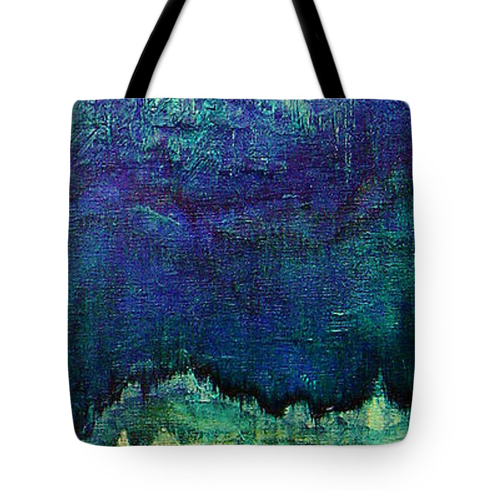 Blue Tote Bag featuring the painting For Linda by Shadia Derbyshire
