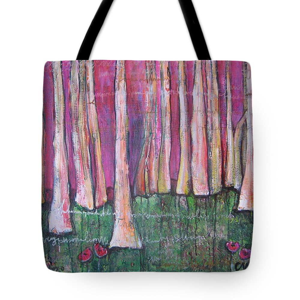 Aspen Trees Tote Bag featuring the painting For Page Turner by Laurie Maves ART