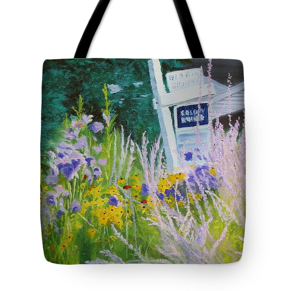 Landscape Tote Bag featuring the painting For Sale - A Patch Of Paradise by Lea Novak