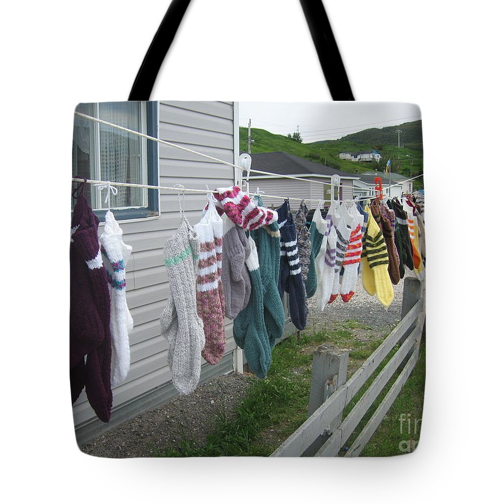 Knitted Socks Newfoundland Tote Bag featuring the photograph For Sale by Seon-Jeong Kim