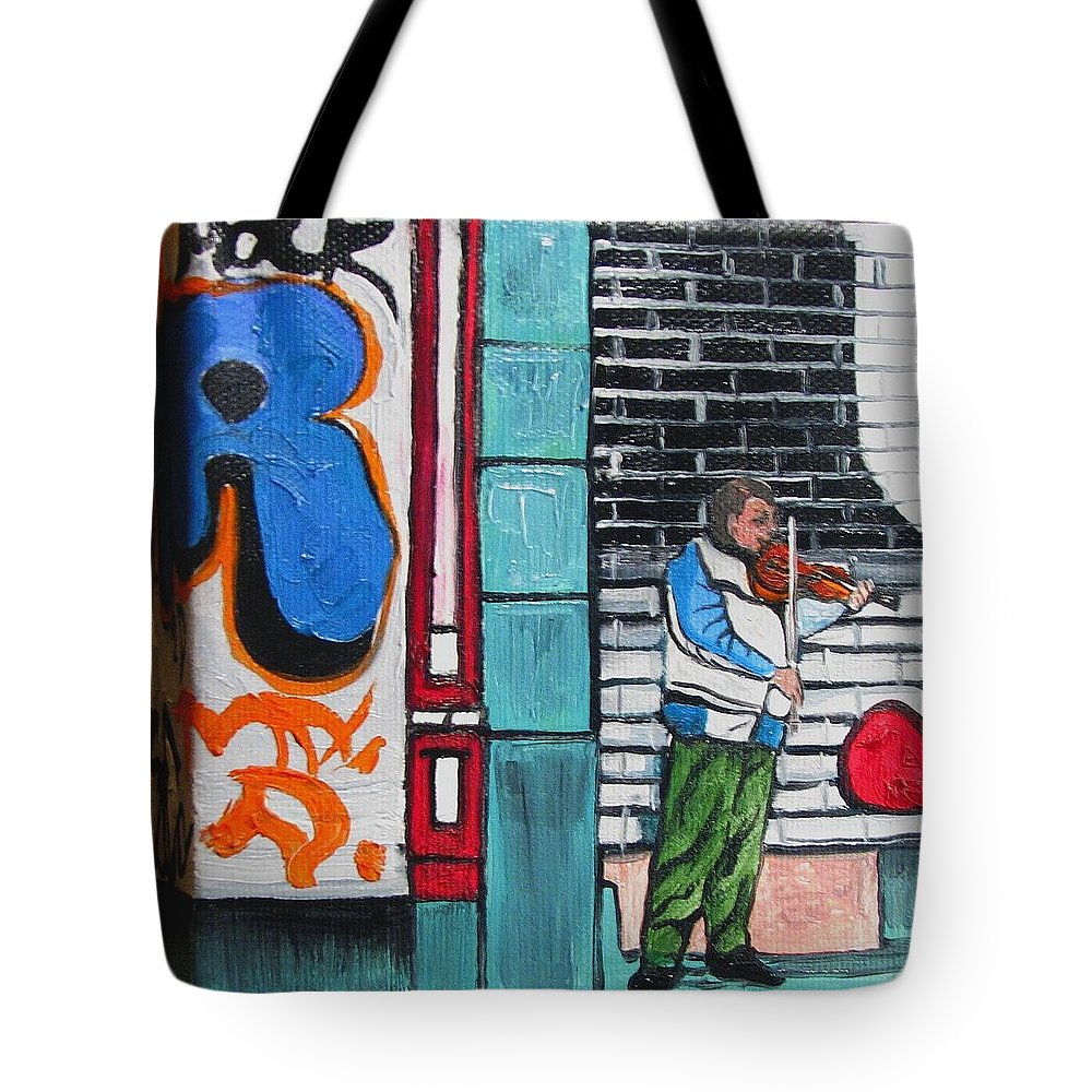 Gaffitti Art Tote Bag featuring the painting For The Love Of Music by Patricia Arroyo