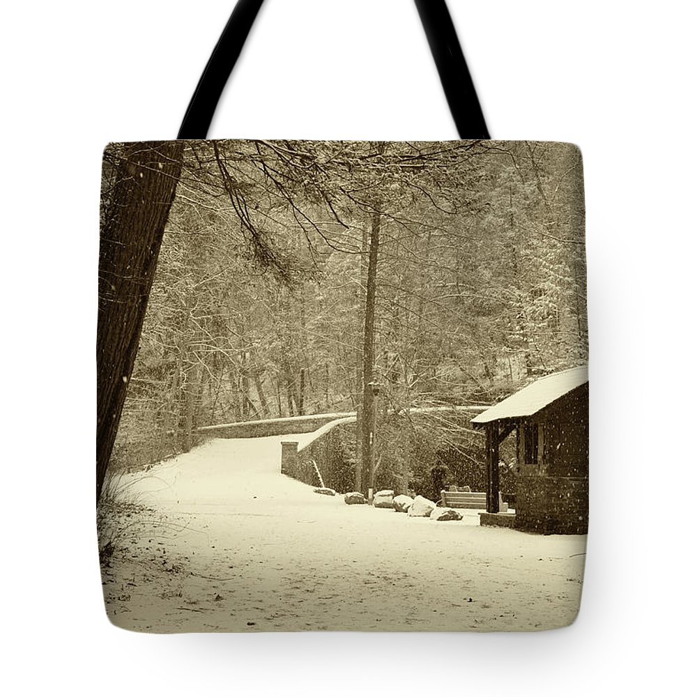 Wissahickon Tote Bag featuring the photograph Forbidden Drive In Winter by Bill Cannon