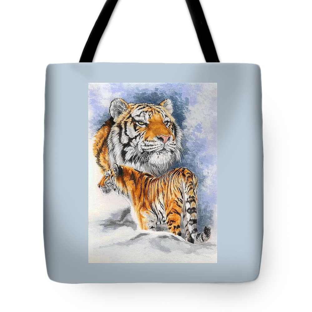 Big Cats Tote Bag featuring the mixed media Forceful by Barbara Keith