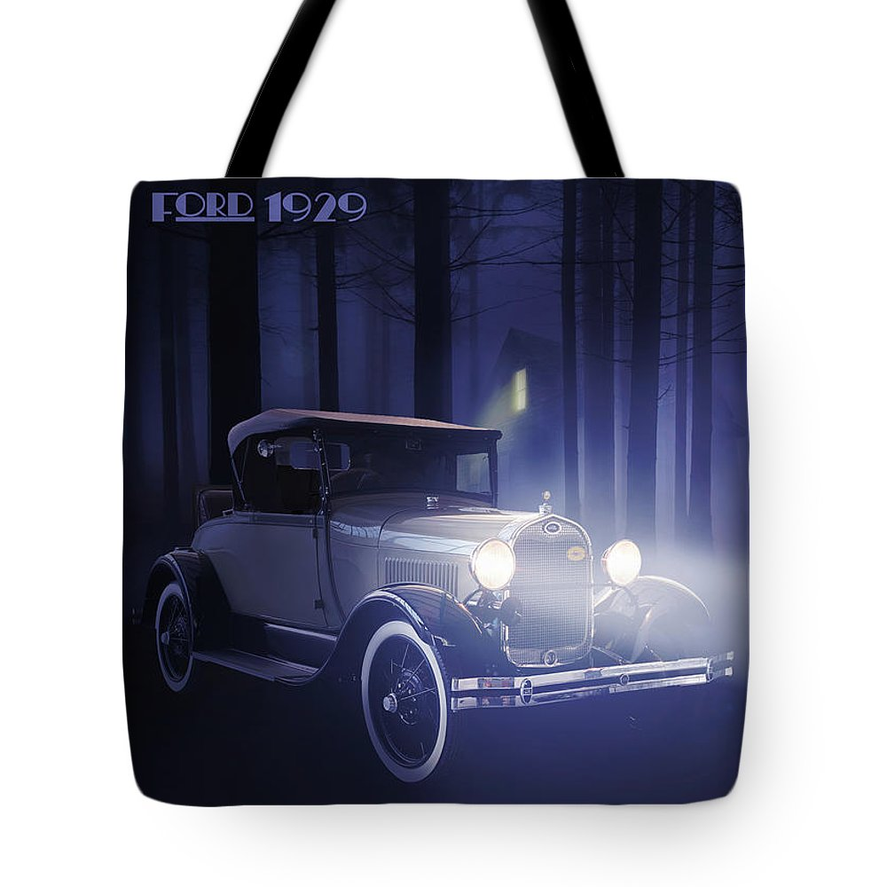 Ford Tote Bag featuring the digital art Ford 1929 by Hay Rouleaux