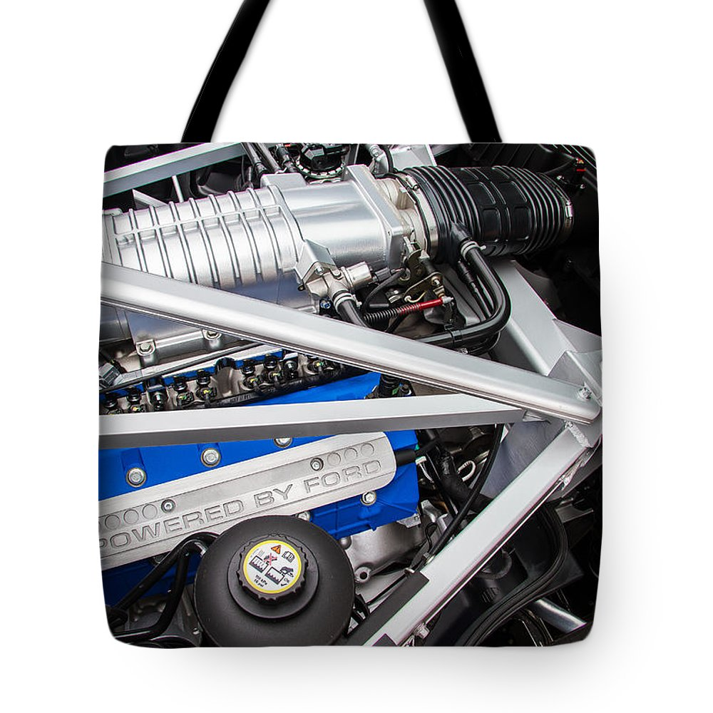 Ford Gt  Tote Bag Featuring The Photograph Ford Gt Engine By Roger Mullenhour