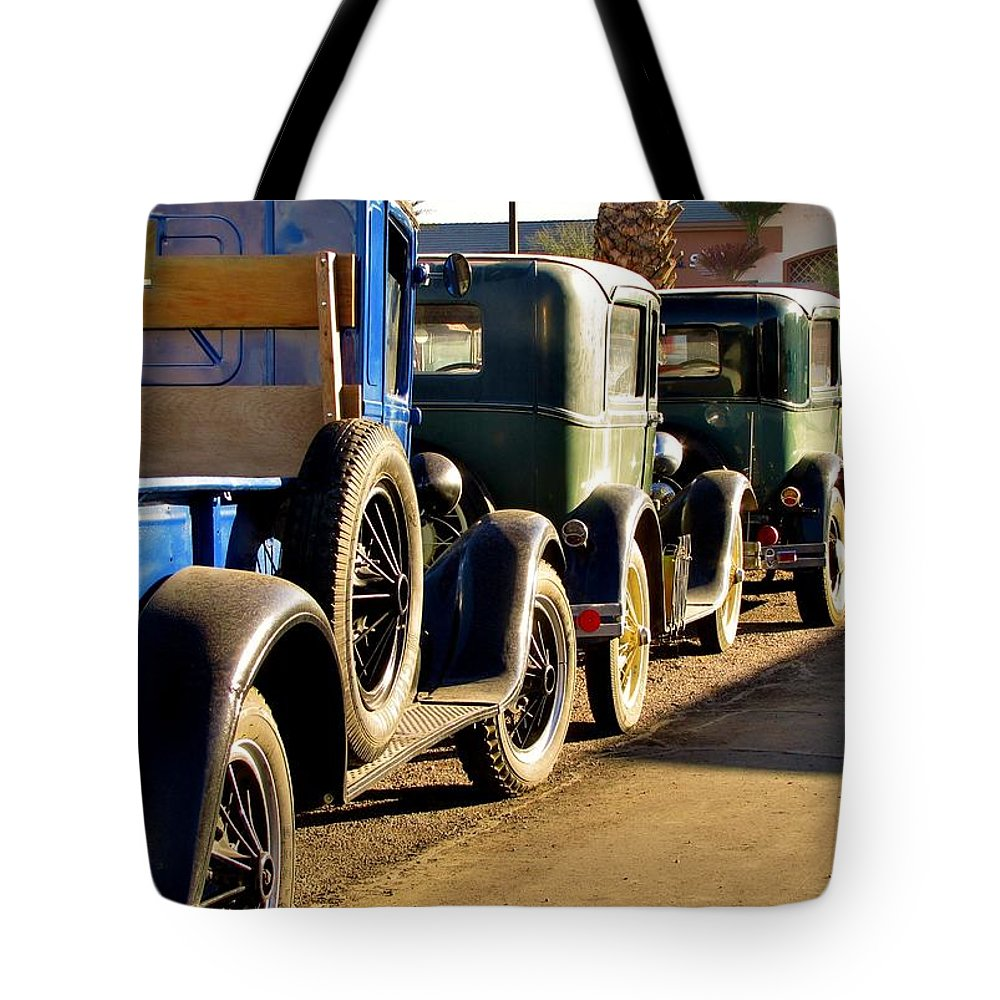 Vintage Fords Tote Bag featuring the photograph Ford Lineup by Marilyn Smith