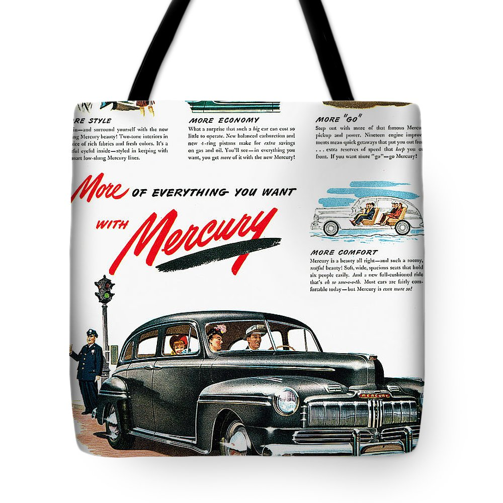 1946 Tote Bag featuring the photograph Ford Mercury Ad, 1946 by Granger