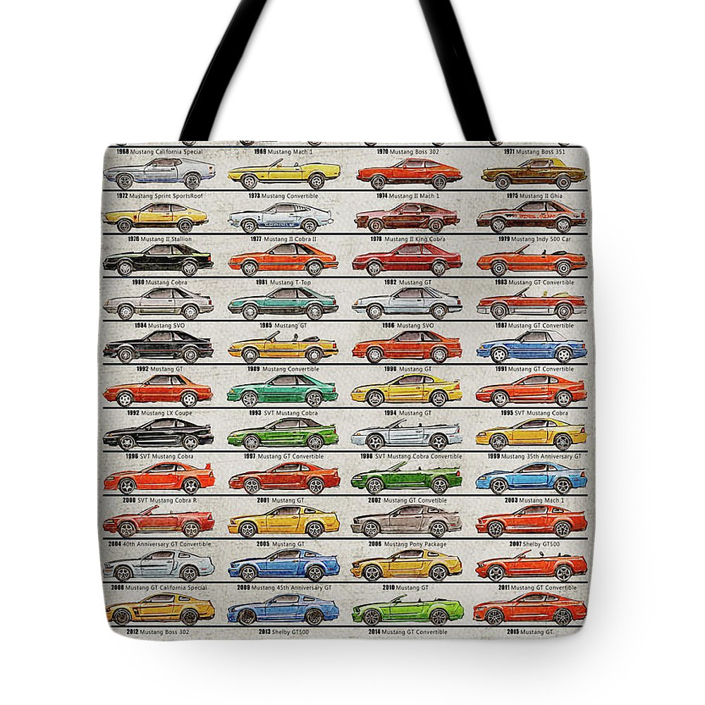 Vintage mustang tote bag featuring the digital art ford mustang timeline history 50 years by yurdaer