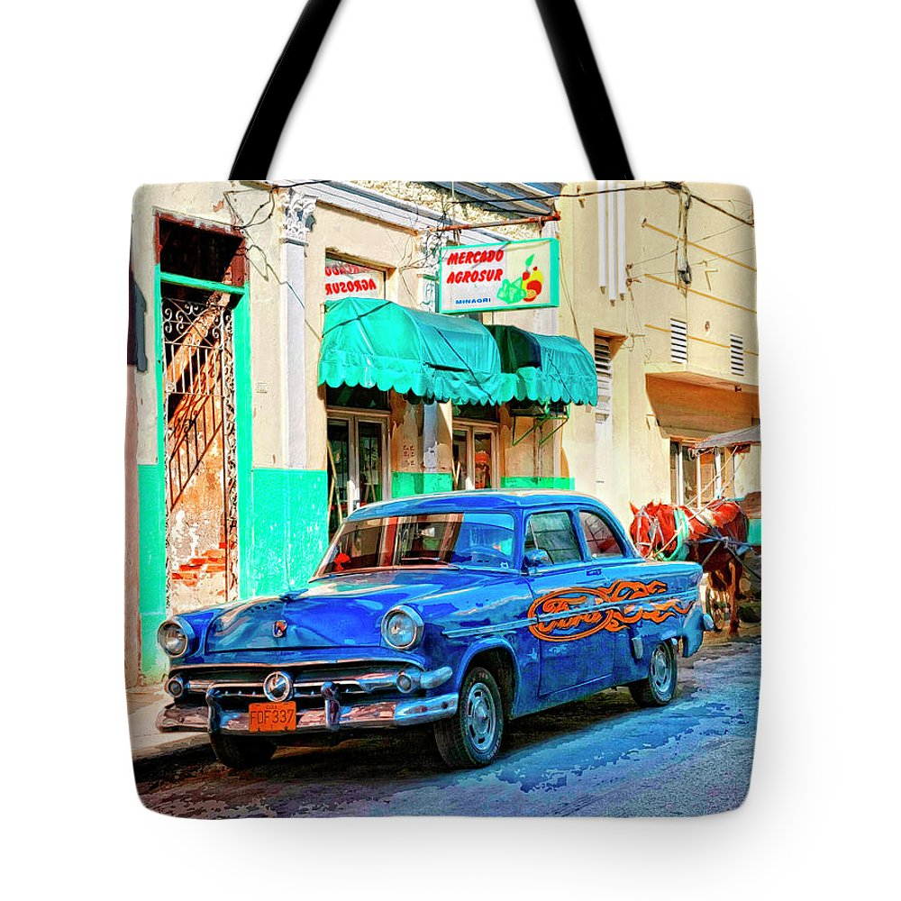 Ford Power Tote Bag featuring the mixed media Ford Power by Dominic Piperata