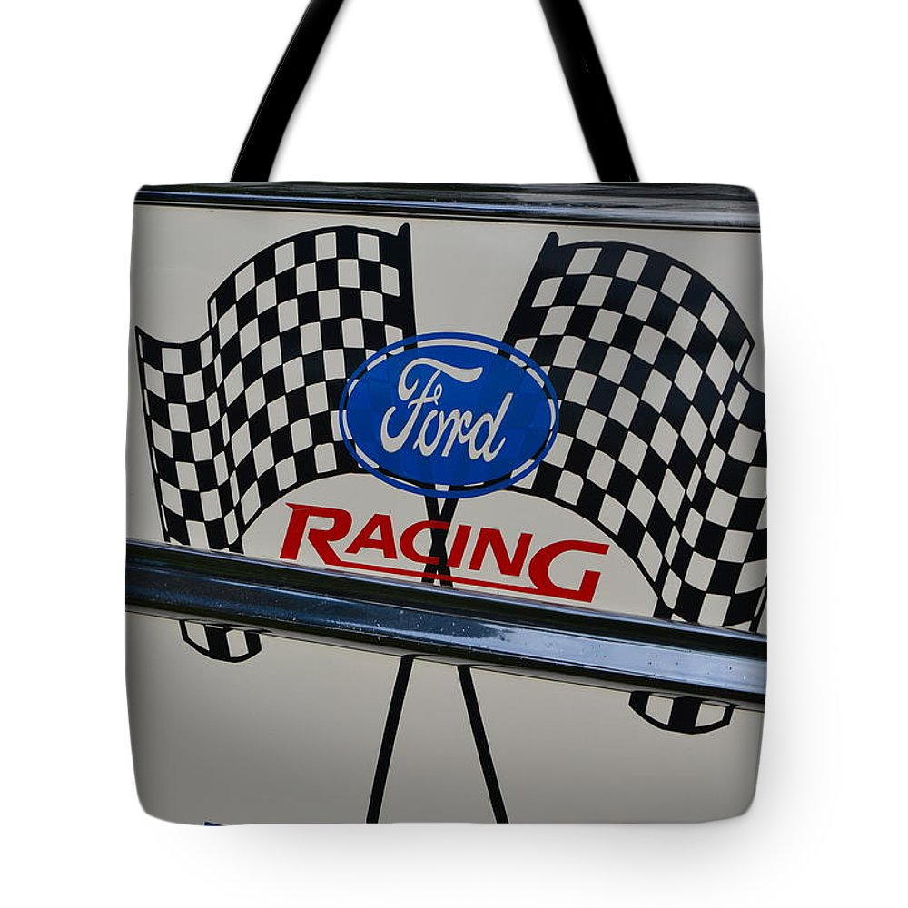 Tote Bag featuring the photograph Ford Racing Emblem by Dean Ferreira
