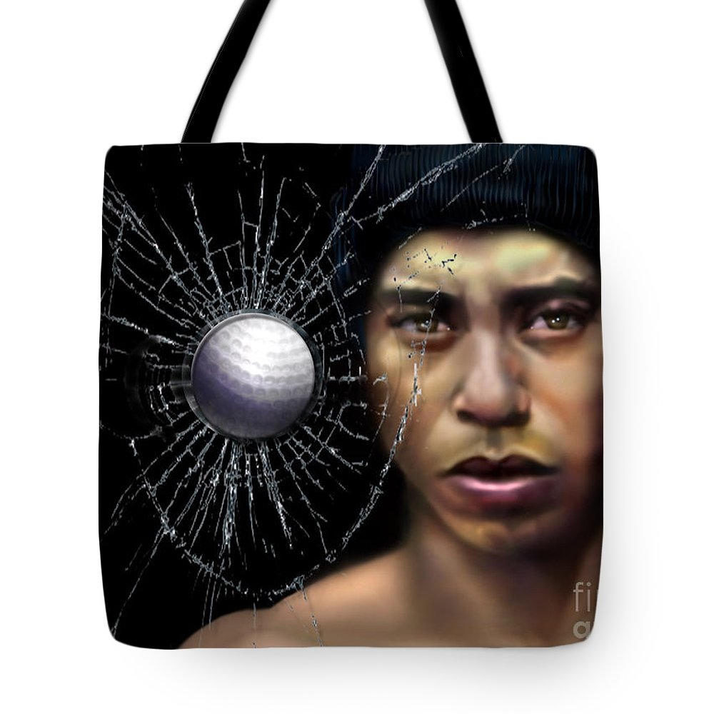 Tiger Tote Bag featuring the painting Fore-wood by Reggie Duffie