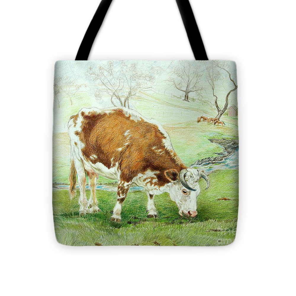 Cow Tote Bag featuring the drawing Foreman's Favorite by Jill Iversen