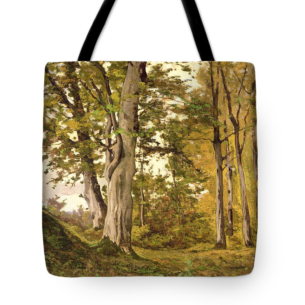 Forest Tote Bag featuring the painting Forest At Fontainebleau by Henri-Joseph Harpignies