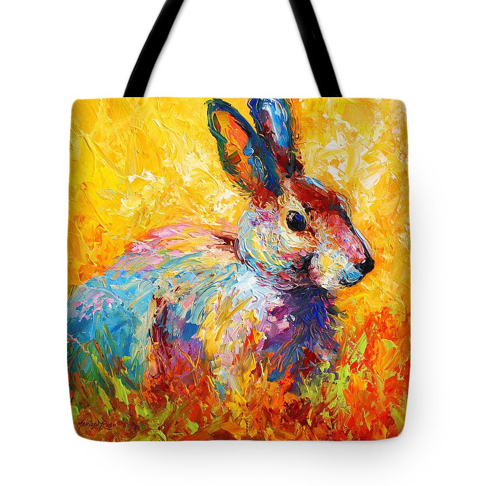 Rabbit Tote Bag featuring the painting Forest Bunny by Marion Rose