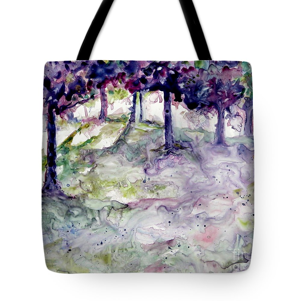 Fastasy Tote Bag featuring the painting Forest Fantasy by Jan Bennicoff
