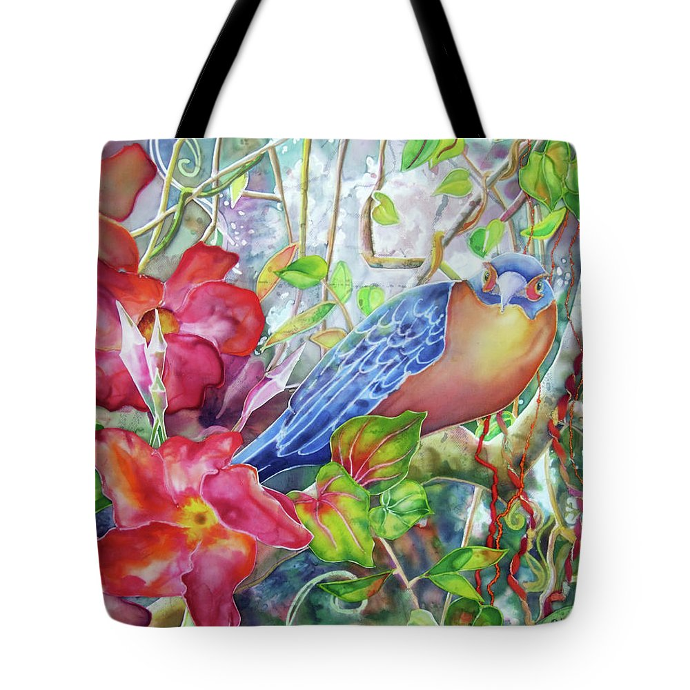 Bird Tote Bag featuring the painting Forest Guardian by Deborah Younglao