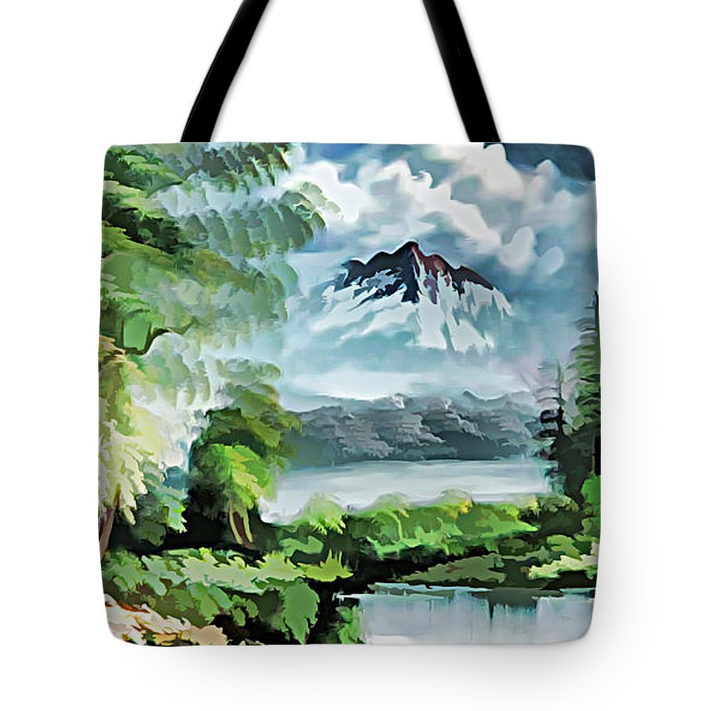 Paint Tote Bag featuring the painting Forest Impression 18 by Nenad Vasic