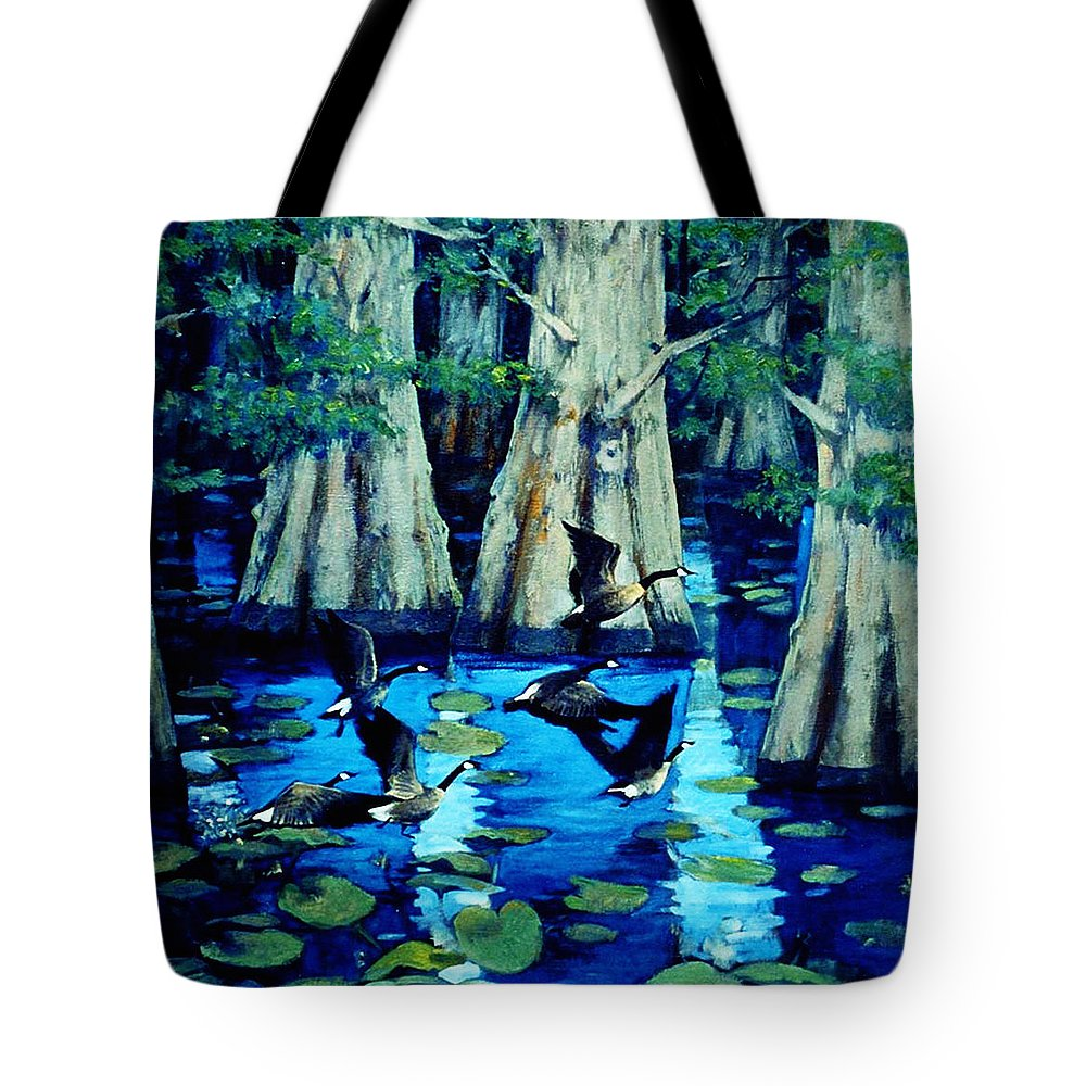 Forest Tote Bag featuring the painting Forest In Water by LoveyUp Gallery