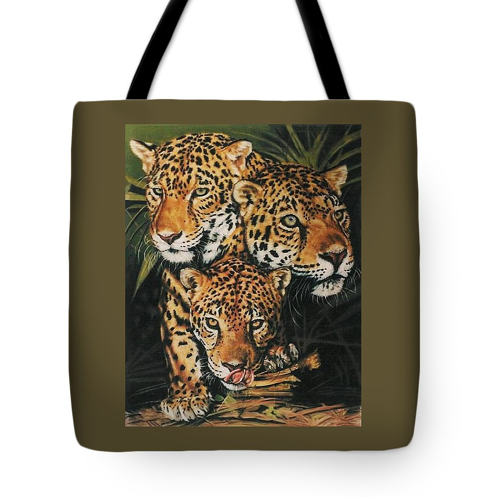 Jaguar Tote Bag featuring the pastel Forest Jewels by Barbara Keith