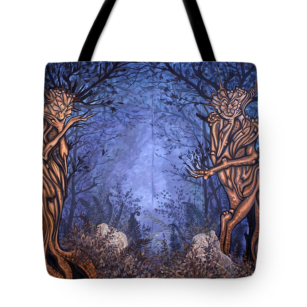 Mystic Tote Bag featuring the painting Forest by Judy Henninger