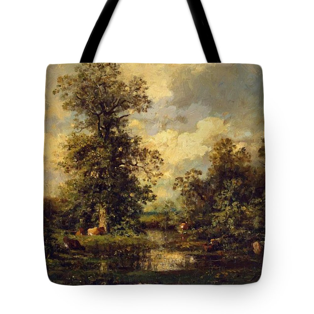 Forest Tote Bag featuring the painting Forest Landscape 1840 by Dupre Jules