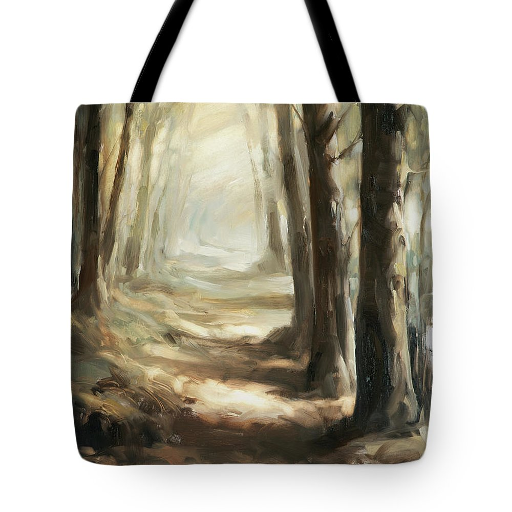 Distant Trees Tote Bags