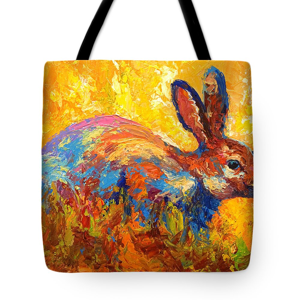 Rabbit Tote Bag featuring the painting Forest Rabbit II by Marion Rose