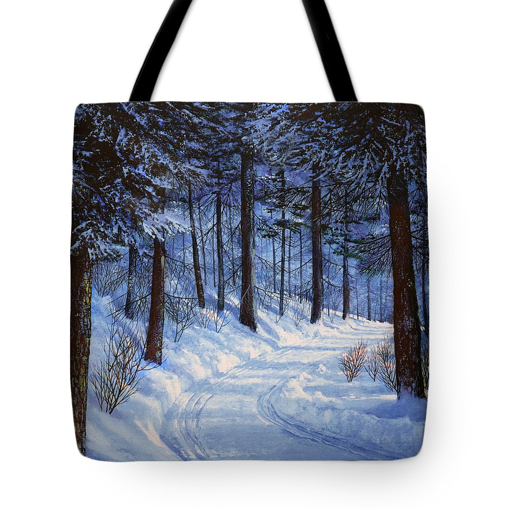 Landscape Tote Bag featuring the painting Forest Road by Frank Wilson