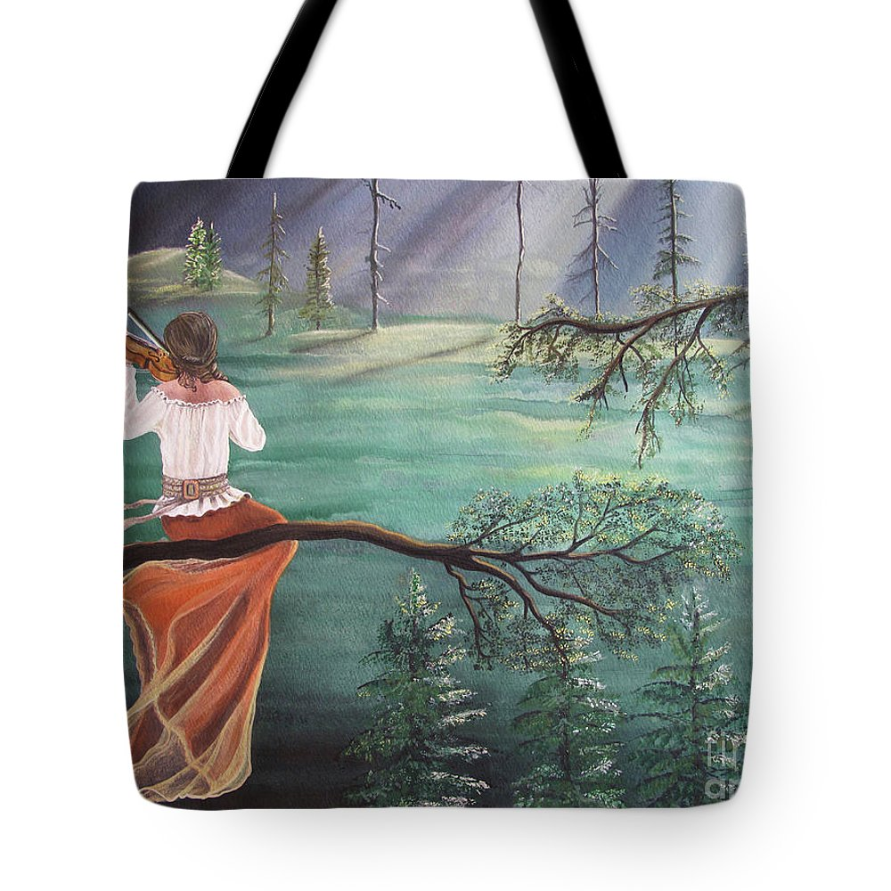 Violin Tote Bag featuring the painting Forest Serenade by Kris Crollard