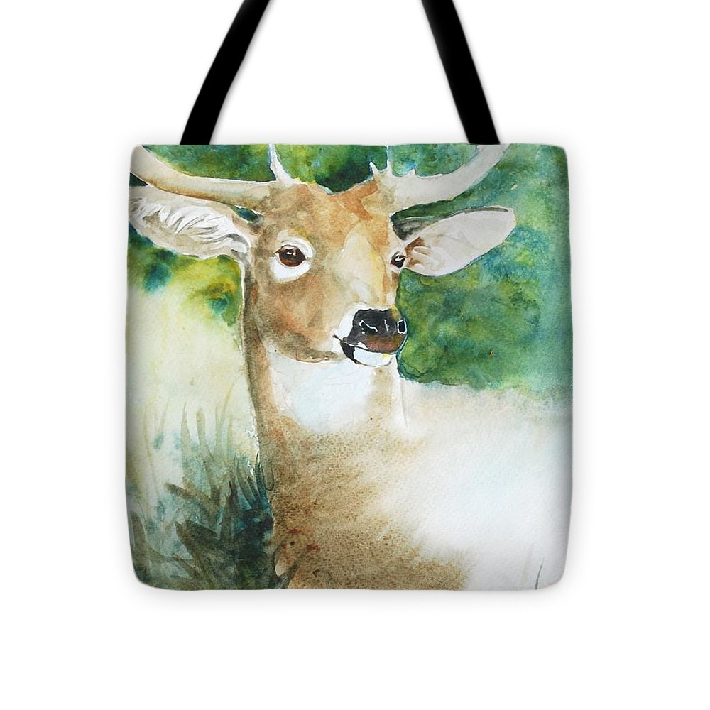 Deer Tote Bag featuring the painting Forest Spirit by Christie Martin