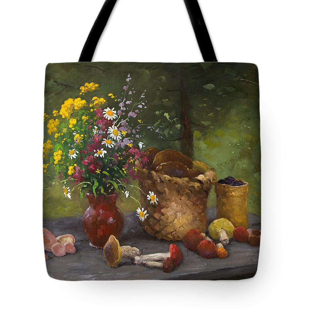 Alexandrovsky Tote Bag featuring the painting Forest Still Life by Alexander Alexandrovsky