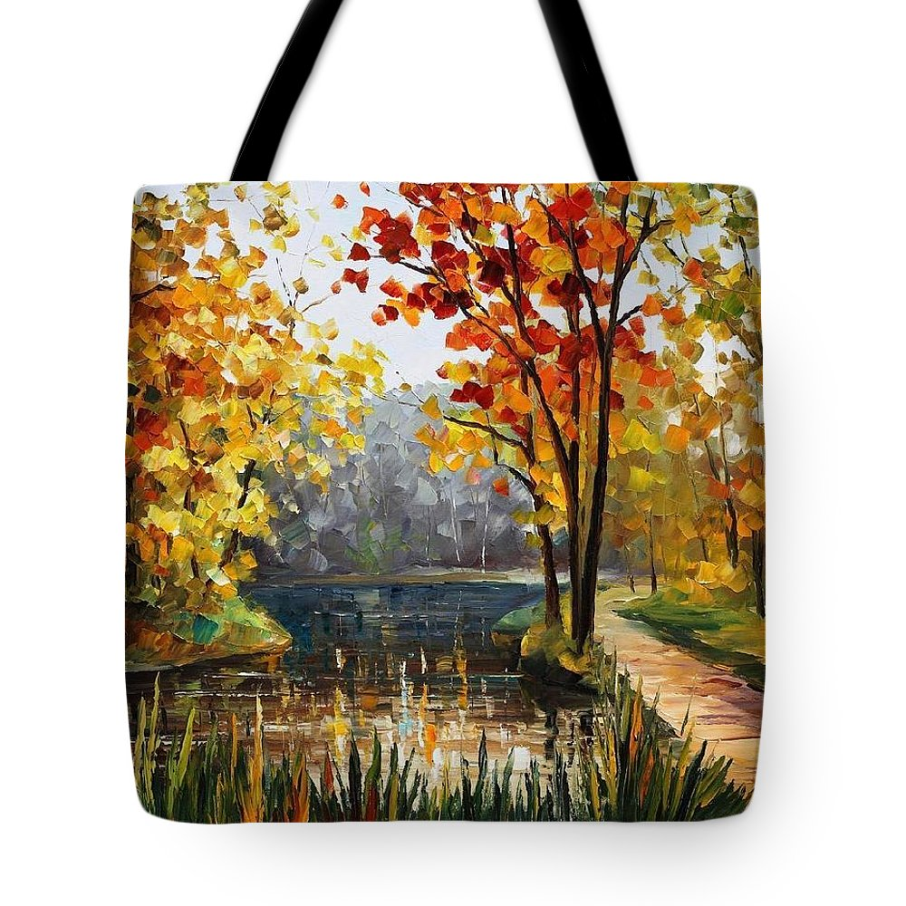 Afremov Tote Bag featuring the painting Forest Stream by Leonid Afremov