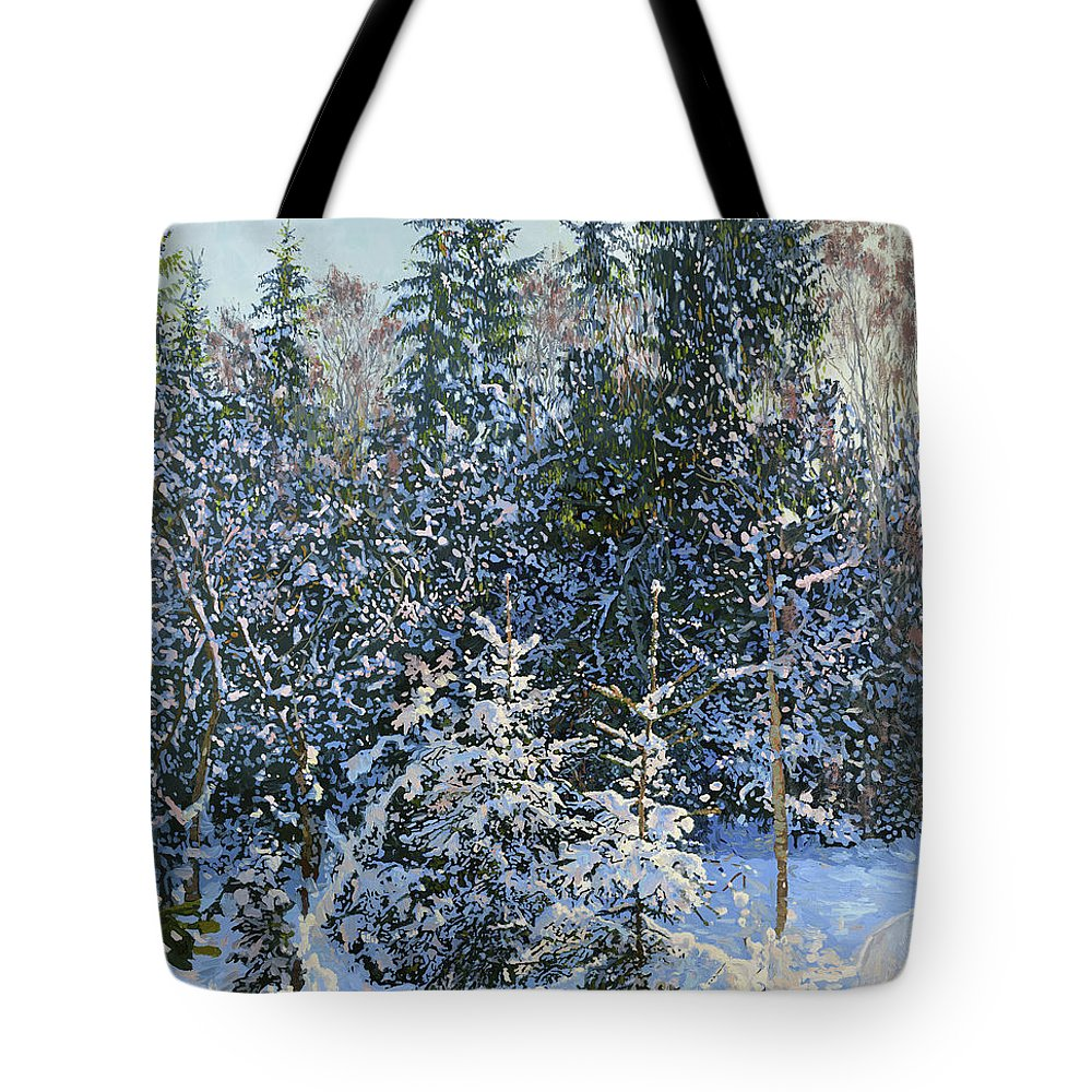 Winter Tote Bag featuring the painting Forest's Fairy-tale. by Simon Kozhin