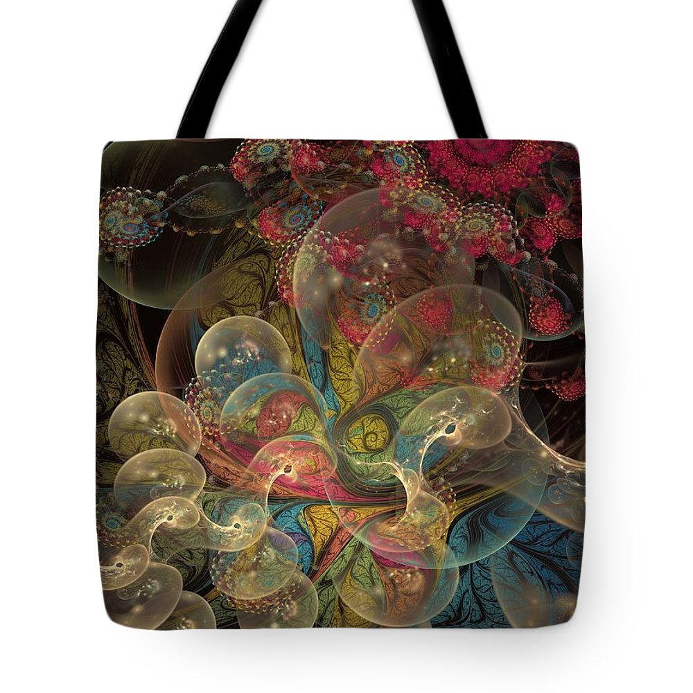 Fractal Tote Bag featuring the digital art Forever Blowing Bubbles by Amorina Ashton