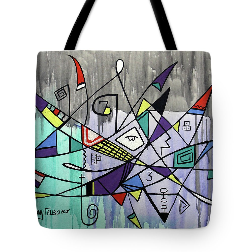 Abstract Tote Bag featuring the painting Forever Hebrews 13-8 by Anthony Falbo