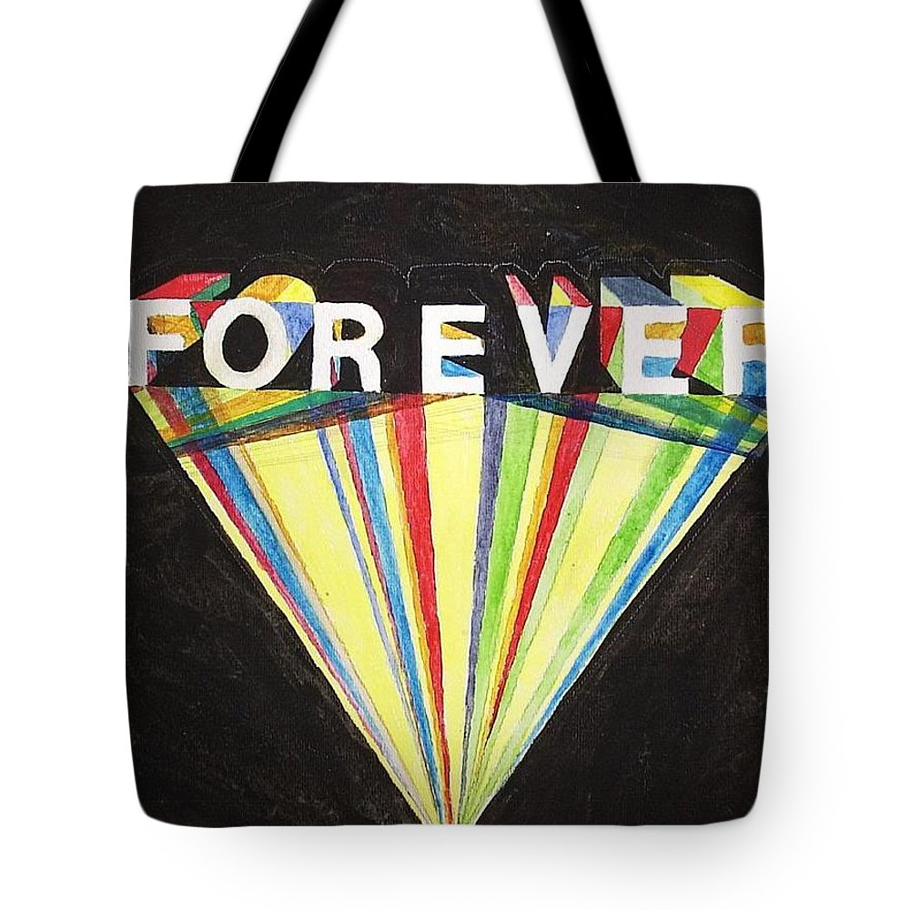 Forever Watercolor Text Eternity In Common Parlance Is Either An Infinite Or An Indeterminately Long Period Of Time. However Tote Bag featuring the painting Forever by William Douglas