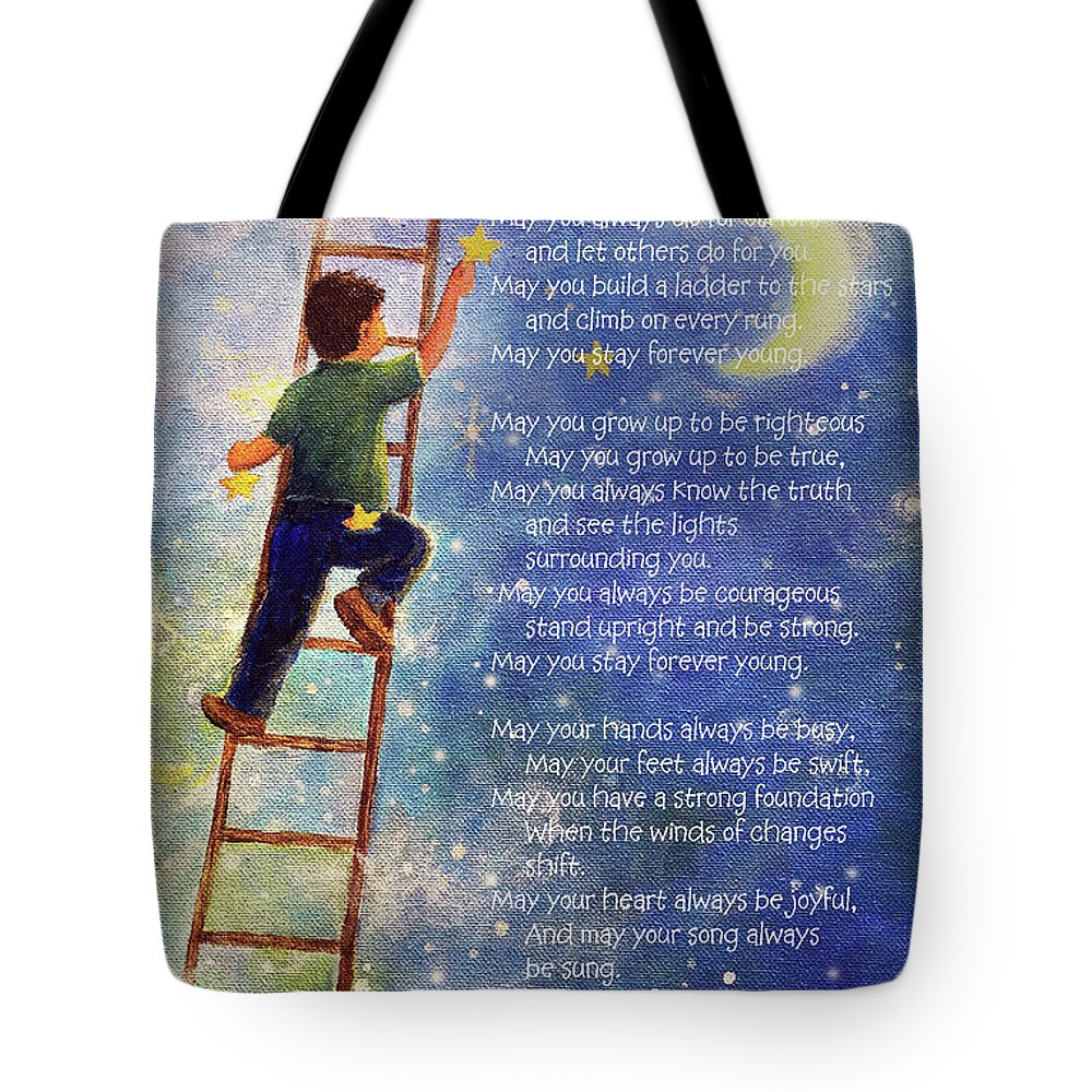 Forever Young Tote Bag featuring the painting Forever Young Bob Dylan Lyrics by Vickie Wade