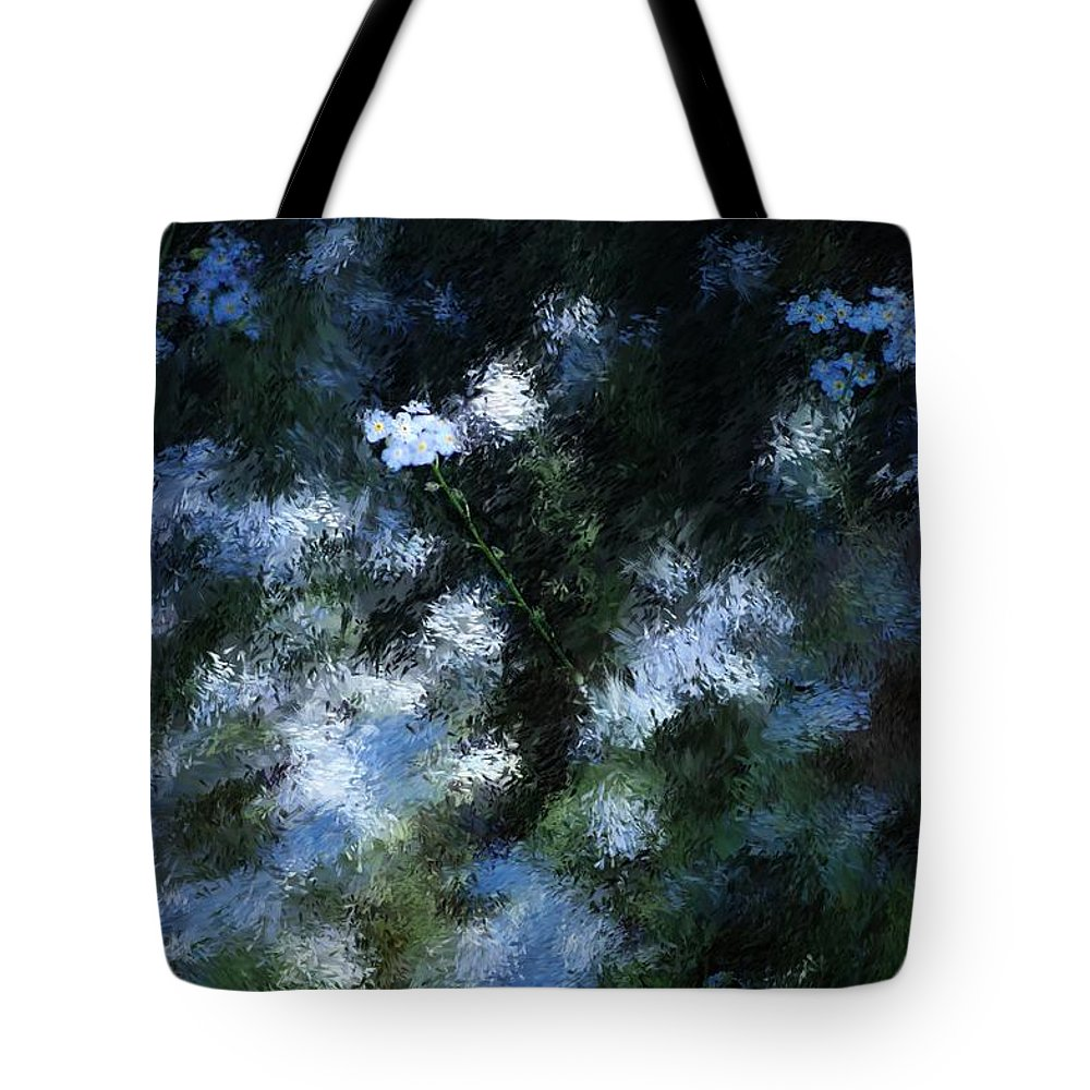 Abstract Tote Bag featuring the digital art Forget Me Not by David Lane