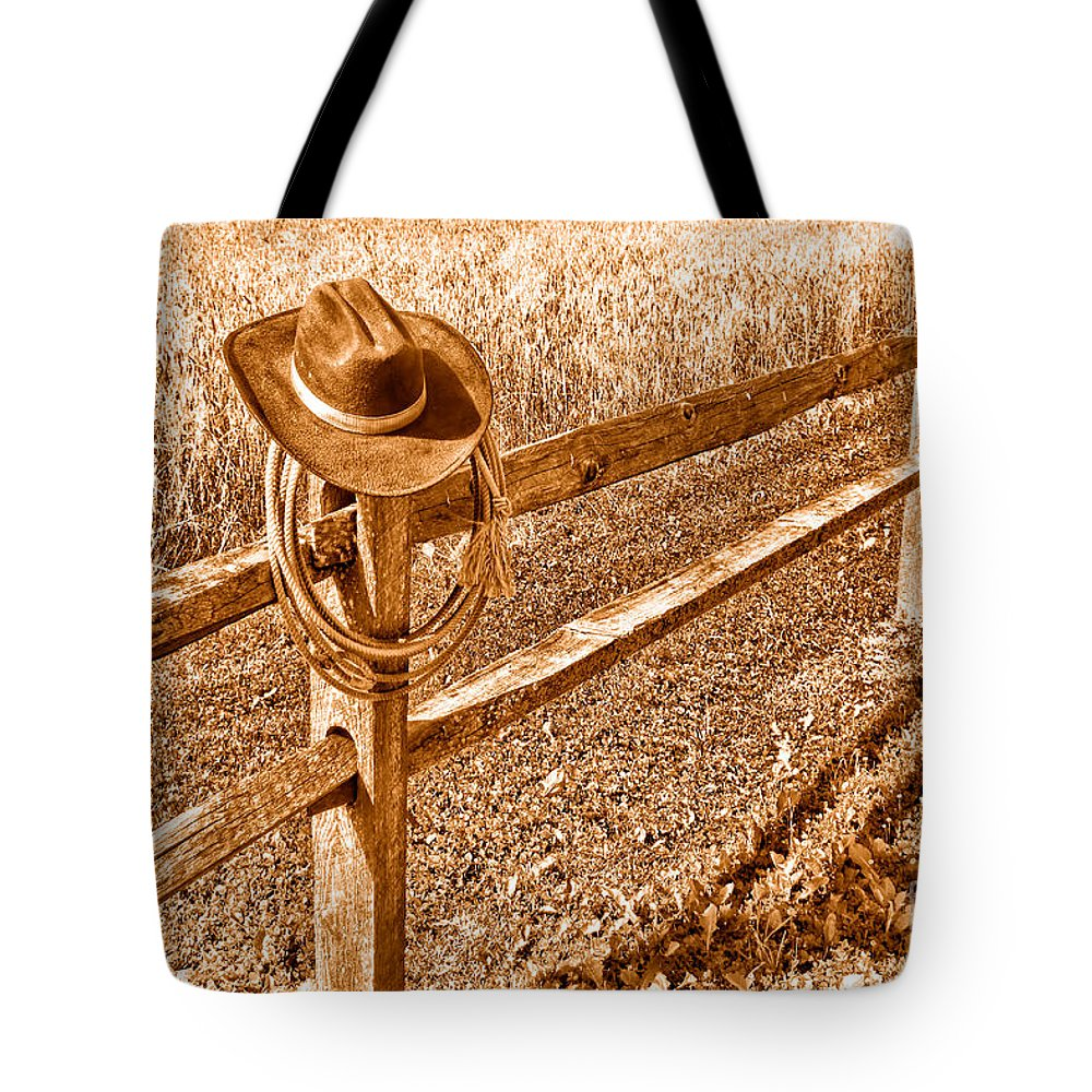 Cowboy Tote Bag featuring the photograph Forgetting Texas - Sepia by Olivier Le Queinec